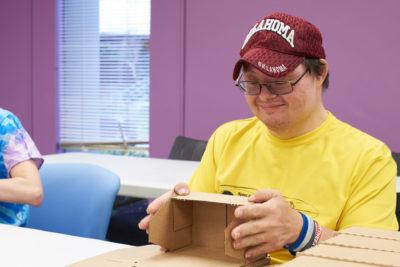 Man folding box
